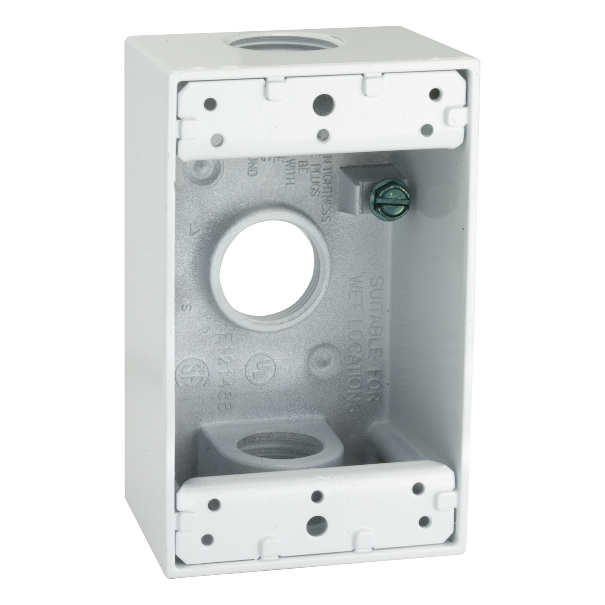 BELL,5324-1,1G WP BOX (3) 3/4 IN. OUTLETS - WHITE