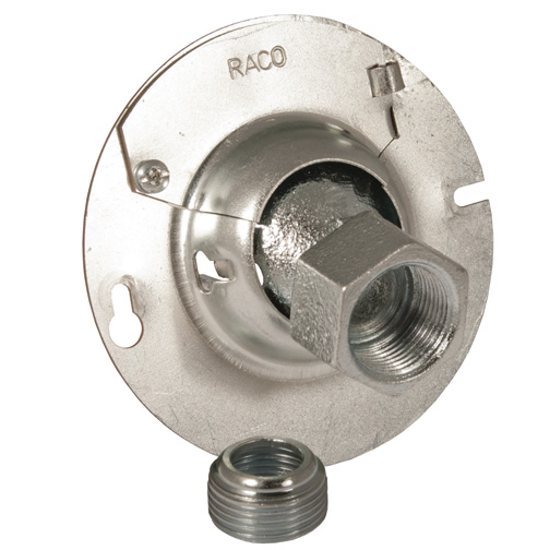 """RACO 894KH 3-1/2"""" or 4"""" Swivel Fixture, Support Covers KWIK-HANG, For 3-1/2"""" or 4"""" Octagon Boxes, 1/2"""" or 3/4"""" Conduit cs=25"""