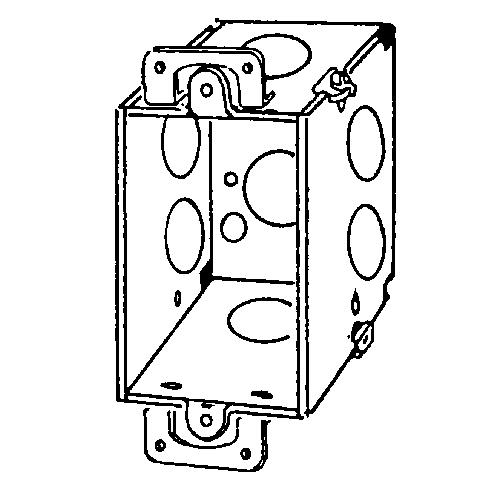 appozgcomm 335 corner gangable switch box with plaster ears  steel  14 cu