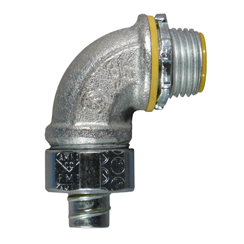 APPOZGCOMM,4QS-950T,Appozgcomm ETP 4QS-950T Liquidtight Conduit Connector, 1/2 in Trade, 90 deg, Malleable Iron, Electro-Zinc Plated
