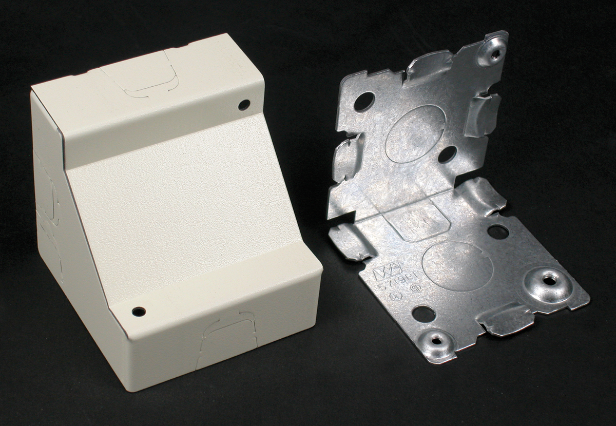 WIREMOLD V5719 : STEEL CORNER BOX 2 1/2 IN. DEEP IVORY