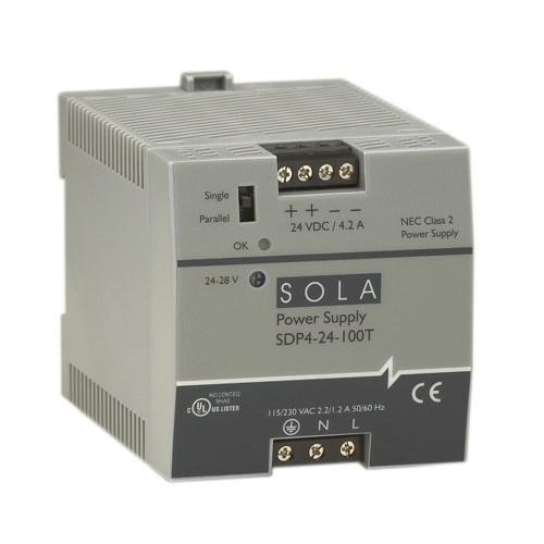 SolaHD SDP4-24-100RT 24/28 VDC 4.2 Amp Output Din Rail Power Supply