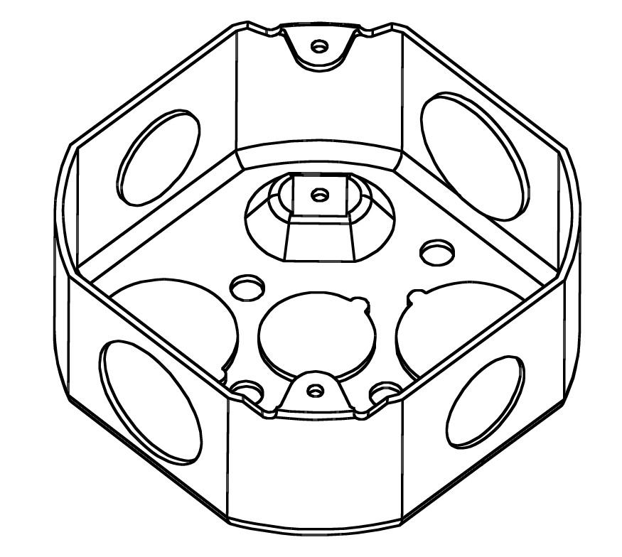 TOPAZ G4454 4IN STEEL OCTAGON BOX