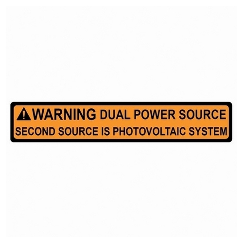 TYT596-00495 SOLAR LABEL, WARNING- DUAL POWER SOURCE LABEL, 4.12