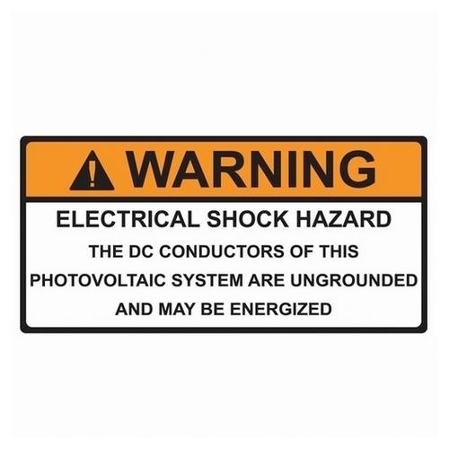 TYT596-00588 SOLAR LABEL, WARNING - DC CONDUCTORS ENERGIZED LABEL, 4.12