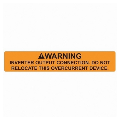 TYT596-00589 SOLAR LABEL, WARNING - INVERTER OUTPUT CONNECTION LABEL, 4.12