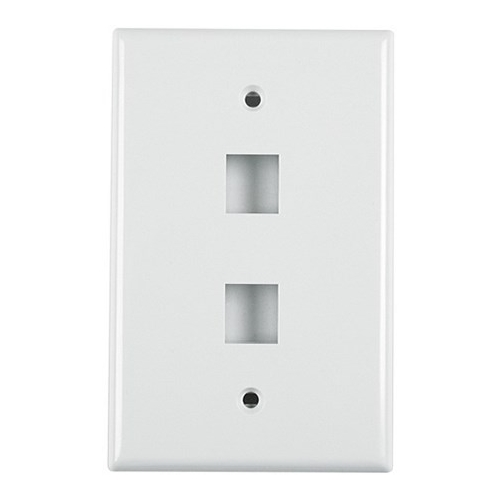 HT FPDUAL-W 2 PORT FLUSH FACE PLATE - WHITE