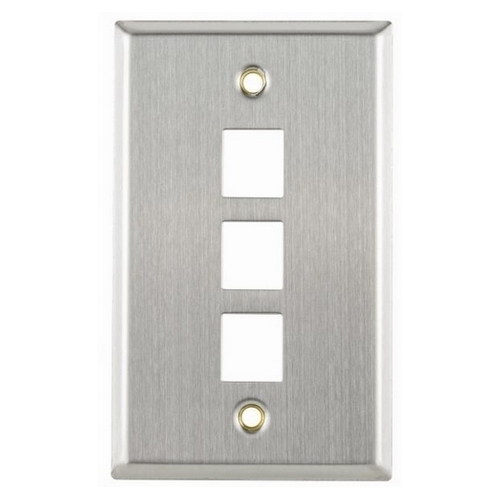 HT FPTRIPLE-SS Stainless steel three port flush mount faceplate