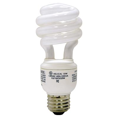 $$GE FLE15HT3/2/827 COMPACT FLUOR SPIRAL LAMP - 950LUMENS - 10K HOUR - 2700K CS=10 #15831 DISCONTINUED BY FACT 8/16
