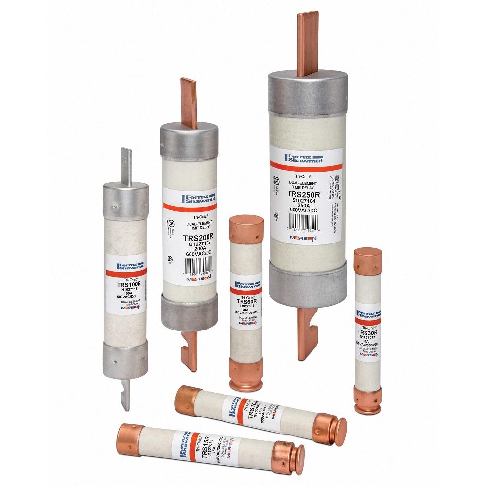 FERTRS50R MFZ TRS50R 50A 600V RK5 TD FUS;Ferraz Shawmut Tri-Onic® TRS50R TRS-R Current Limiting Low Voltage Time Delay Fuse, 50 A, 600 VAC/300 VDC, 200/20 kA Interrupt, RK5 Class, Cylindrical Body
