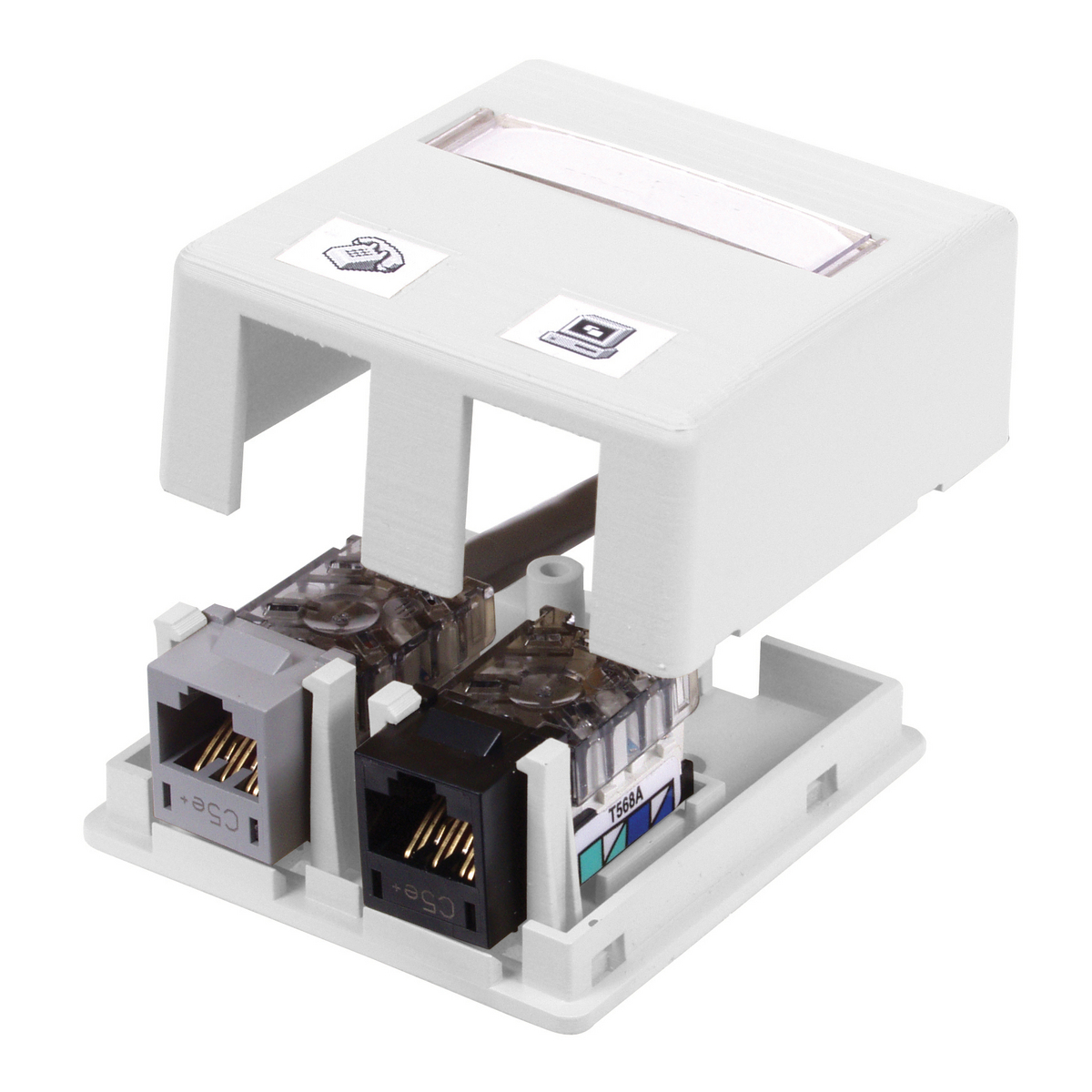 HUBPR ISB2W HOUSING, SURFACE MOUNT, 2 PORT, WH