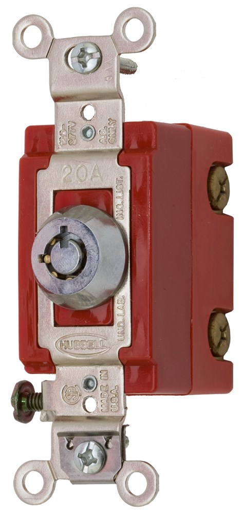 Hubbell Wiring Device-Kellems,HBL1221RKL,SP TOG, IND GRD, 20A 120/277V, LOCK