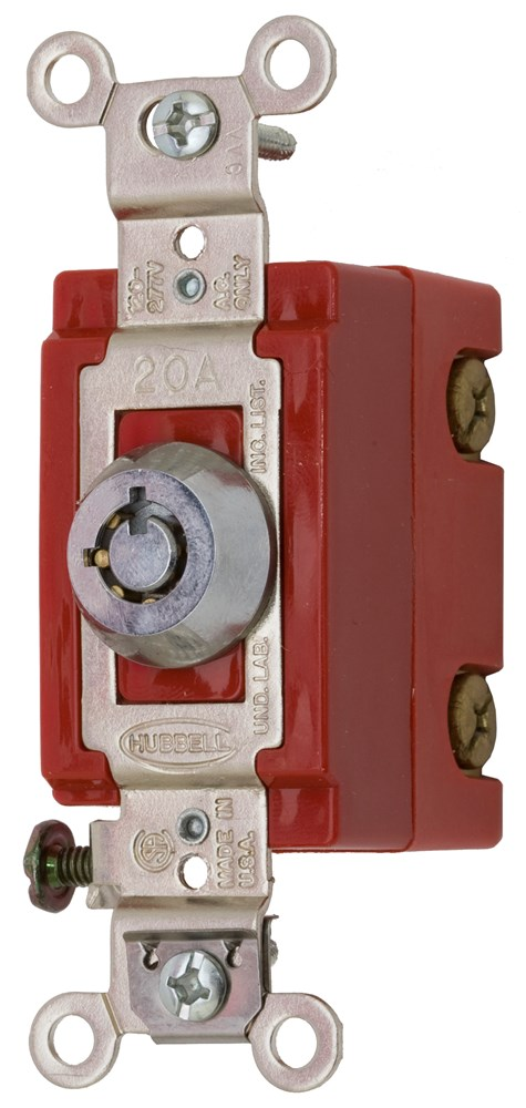 Hubbell Wiring Device-Kellems,HBL1222RKL,DP TOG, IND GRD, 20A 120/277V, LOCKING
