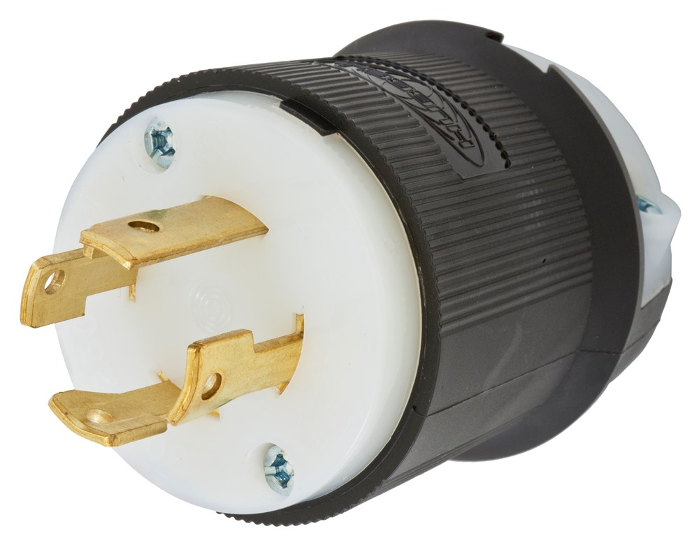 Hubbell Wiring Device-Kellems,HBL2721,LKG PLUG, 30A 3P 250V, L15-30P, B/W
