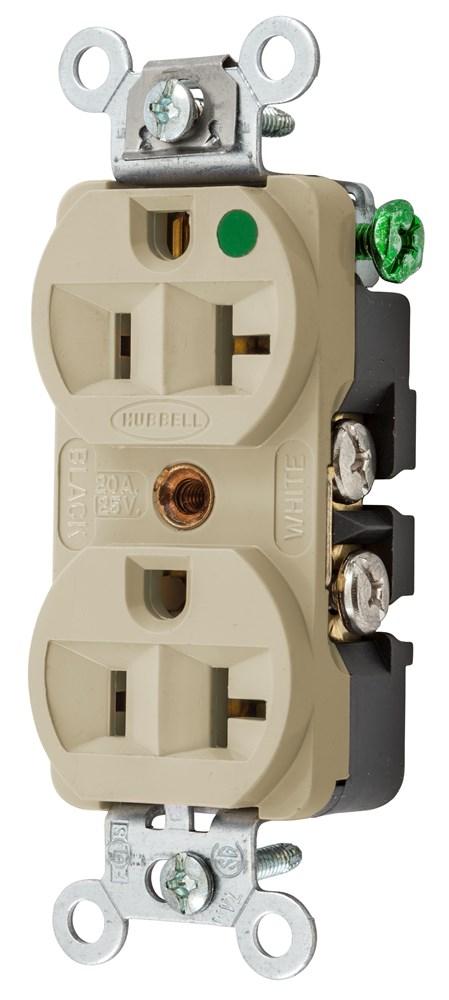 Hubbell Wiring Device-Kellems,HBL8300HI,DUP RCPT, COM/HG, 20A 125V, 5-20R, IV