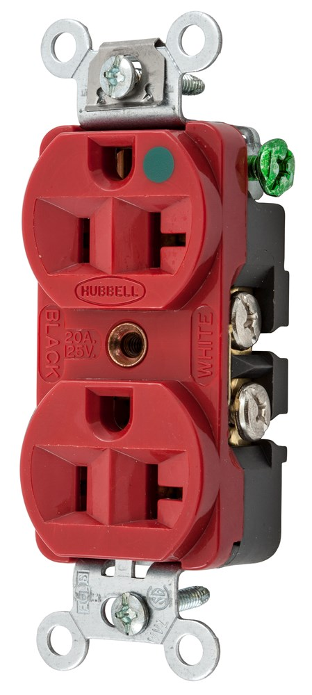 Hubbell Wiring Device-Kellems,HBL8300HRED,DUP RCPT, COM/HG, 20A 125V, 5-20R, RD