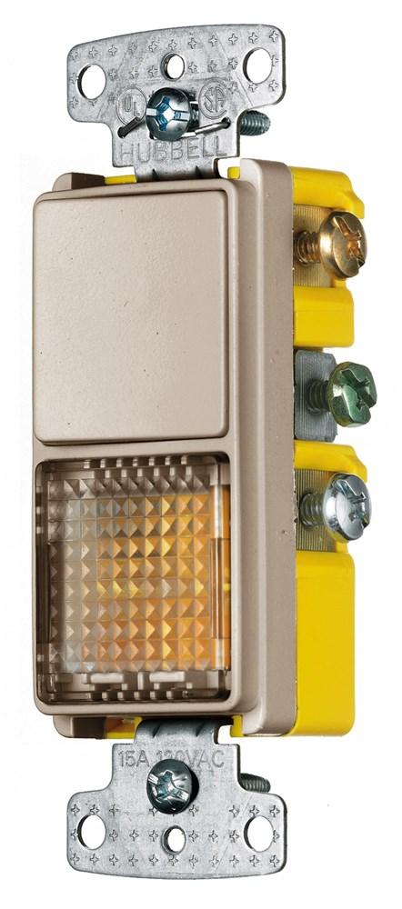 Hubbell Wiring Device-Kellems,RCD109AL,COMBO, 15A SP RKR, PILOT/ILLUM, AL
