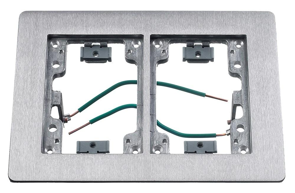 Hubbell Wiring Device-Kellems,SA3084W,FLANGE, 2-G, RECTANGULAR ALU