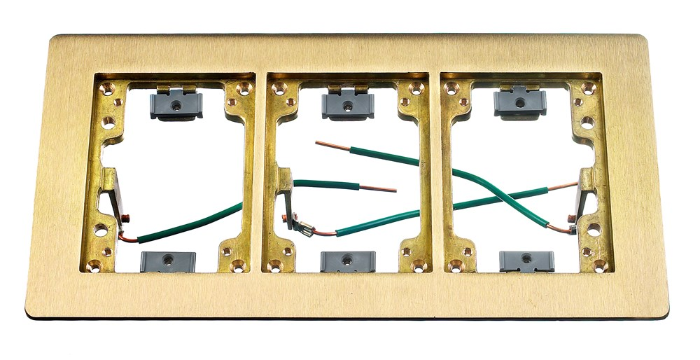 Hubbell Wiring Device-Kellems,SB3085W,FLANGE, 3-G,  RECT, BRS