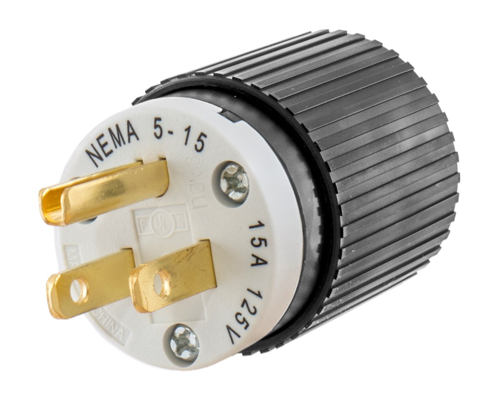 Hubbell Wiring Device-Kellems,515SP,Wiring Device-Kellems Select Spec™ 515SP Straight Blade Plug, 125 VAC, 15 A, 2 Poles, 3 Wires, Black/White