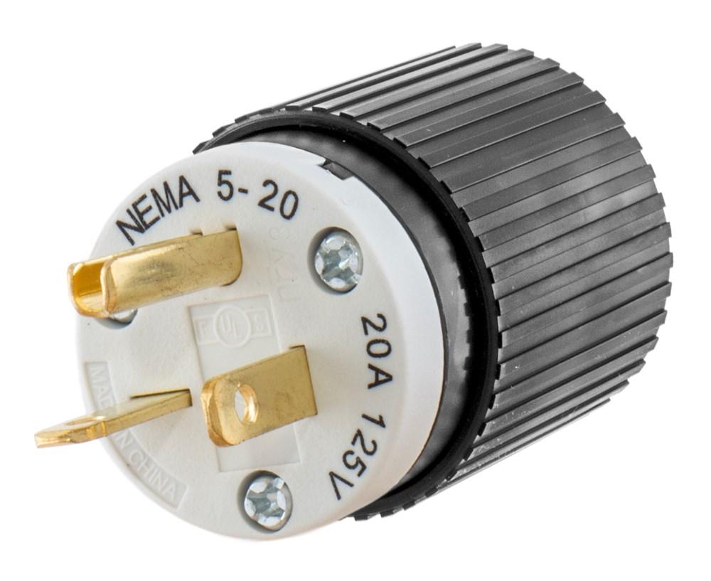 HUB 520SP 20a 125v Straight Blade Plug 5-20P cs=10