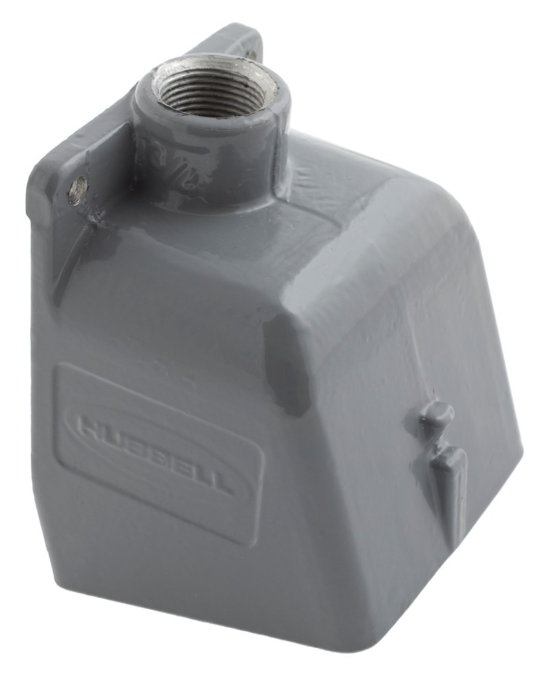 Hubbell Wiring Device-Kellems,BB1001W,Wiring Device-Kellems 15 deg Angled Pin and Sleeve Back Box, 8.13 in H x 5-1/2 in W x 8-1/8 in D, Cast Aluminum