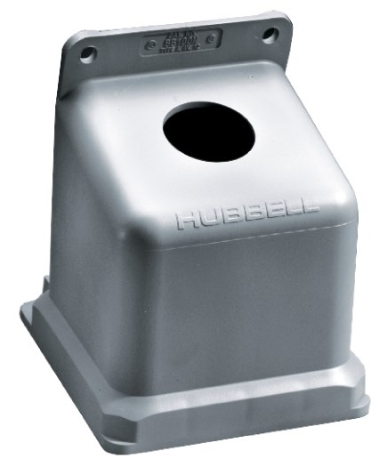 Hubbell Wiring Device-Kellems,BB100N,Wiring Device-Kellems 15 deg Angled Pin and Sleeve Back Box, 8.21 in H x 5-1/2 in W x 6.23 in D, Thermoplastic