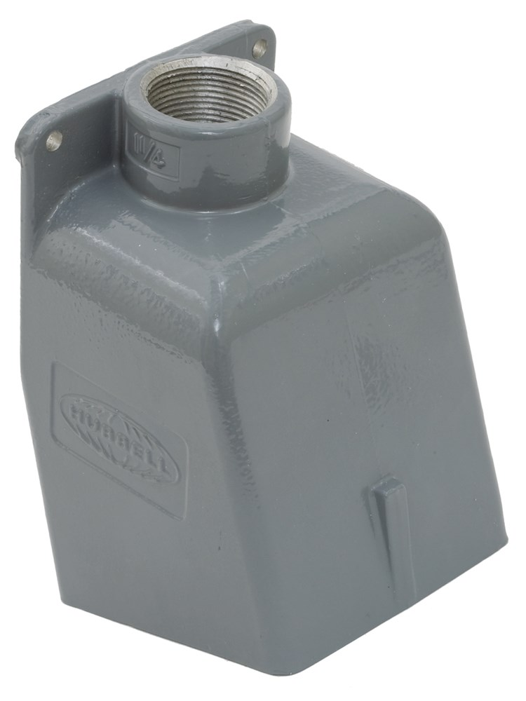 Hubbell Wiring Device-Kellems,BB601W,Wiring Device-Kellems 15 deg Angled Pin and Sleeve Back Box, 7-1/4 in H x 4-1/2 in W, Cast Aluminum