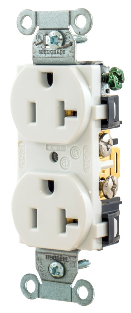 Hubbell Wiring Device-Kellems,BR20WHI,Wiring Device-Kellems Duplex Self-Grounding Straight Blade Receptacle, 125 VAC, 20 A, 2 Poles, 3 Wires, White