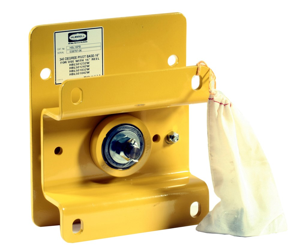 Hubbell Wiring Device-Kellems,HBL16PB,Hubbell® HBL16PB Pivot Base, 340 deg Cable Swing, For Use With 16 in Weatherproof Reels, Steel, Yellow