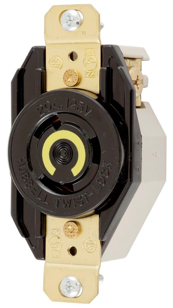 Hubbell Wiring Device-Kellems,HBL2310,LKG RCPT, 20A 125V, L5-20R, BK
