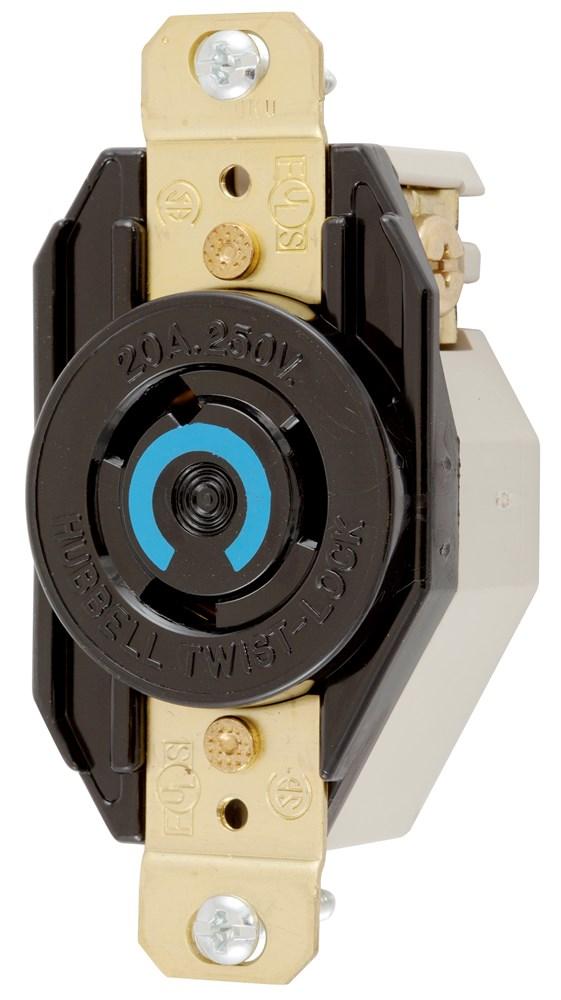 Hubbell Wiring Device-Kellems,HBL2320,LKG RCPT, 20A 250V, L6-20R, BK