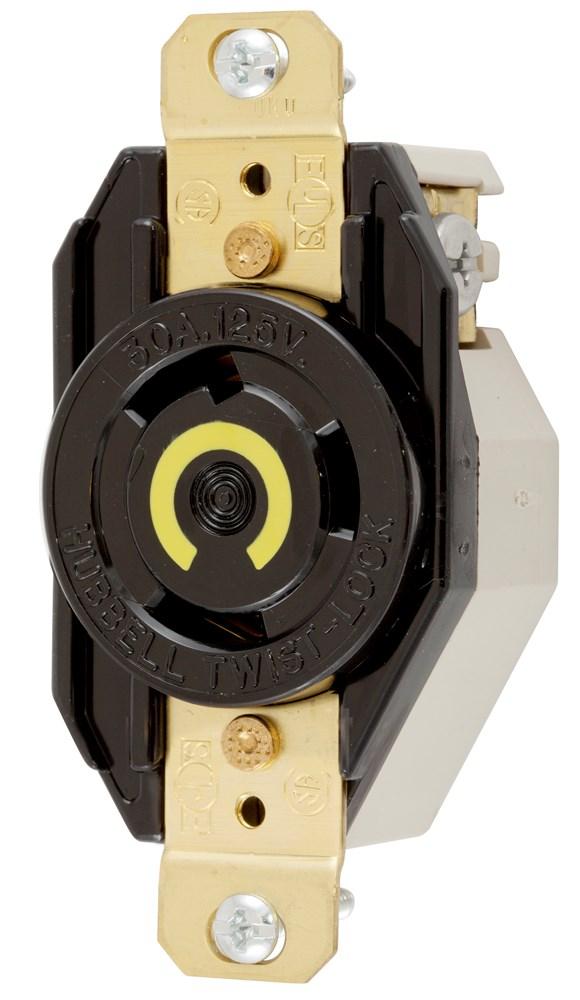 Hubbell Wiring Device-Kellems,HBL2610,LKG RCPT, 30A 125V, L5-30R, BK