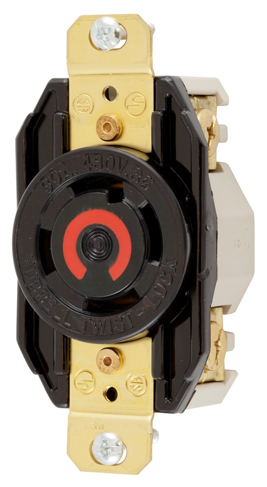 Hubbell Wiring Device-Kellems,HBL2730,Wiring Device-Kellems Twist-Lock® Insulgrip® HBL2730 Flush Receptacle, 480 VAC, 30 A, 3 Poles, 4 Wires, Black