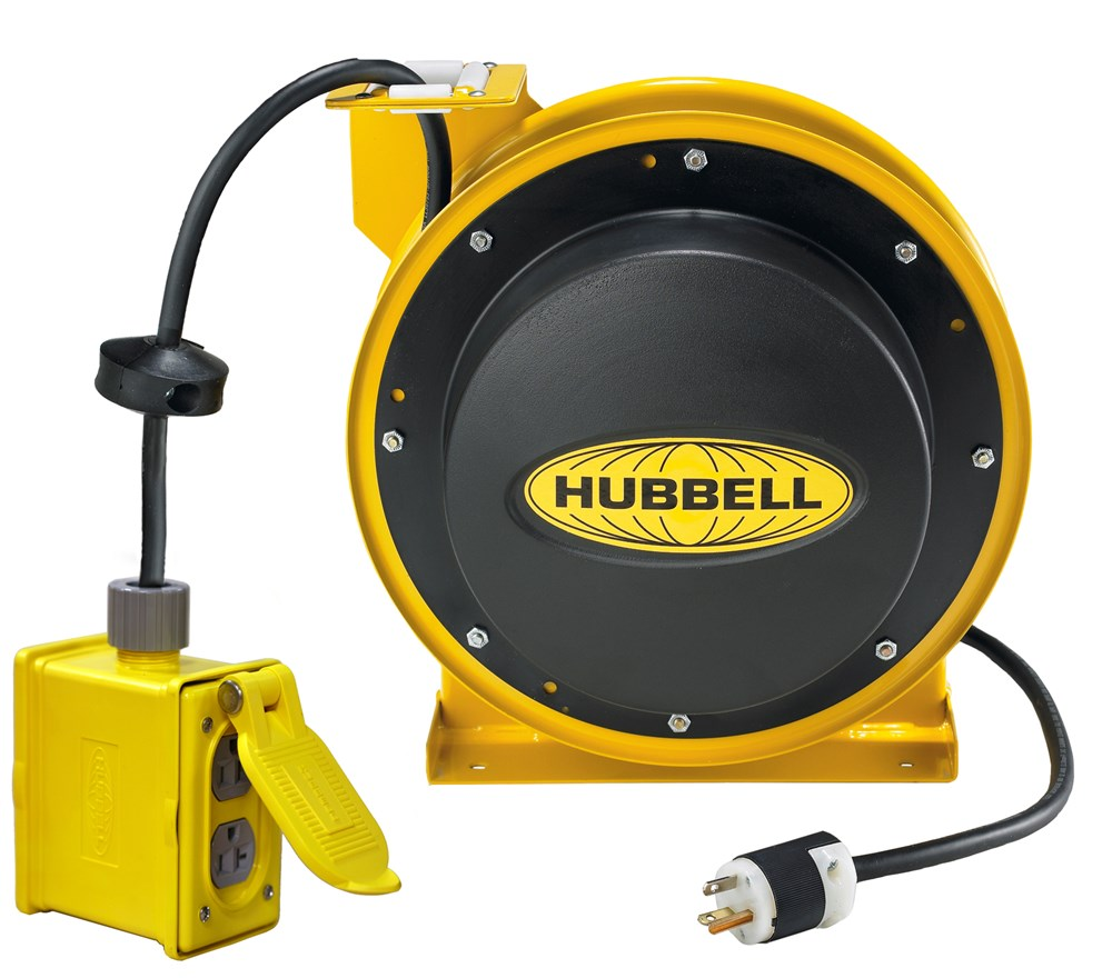 Hubbell Wiring Device-Kellems,HBL45123R220,Hubbell® HBL45123R220 Type Heavy Duty Industrial Power Cord Reel With Portable Outlet Box, 125 VAC, 20 A, 45 ft L Cord