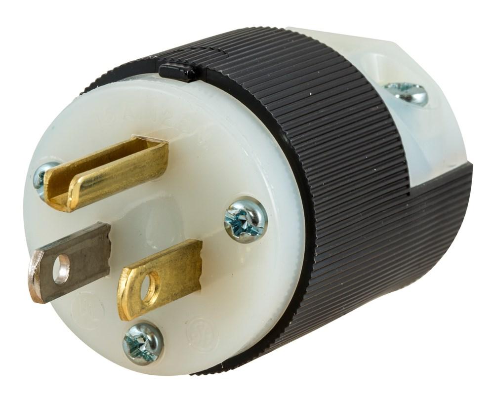 Hubbell Wiring Device-Kellems,HBL5266C,PLUG, 15A 125V, 5-15P, B/W