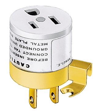 Hubbell Wiring Device-Kellems,HBL5273L,PLUG-IN ADAPTER, 15A 125V, 2W-3W
