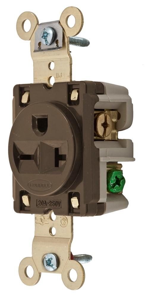 HUB HBL5461 SGL RCPT, IND GRD, 20A 250V, 6-20R, BR