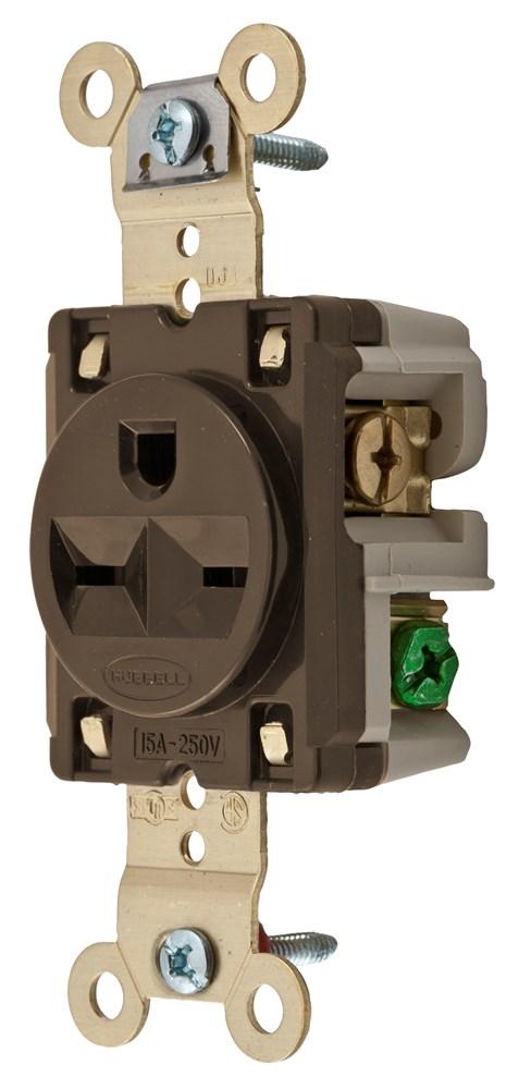 hub hbl5661 recp sgl 15a250v 2p3w brass strap b&s br nema6-15r