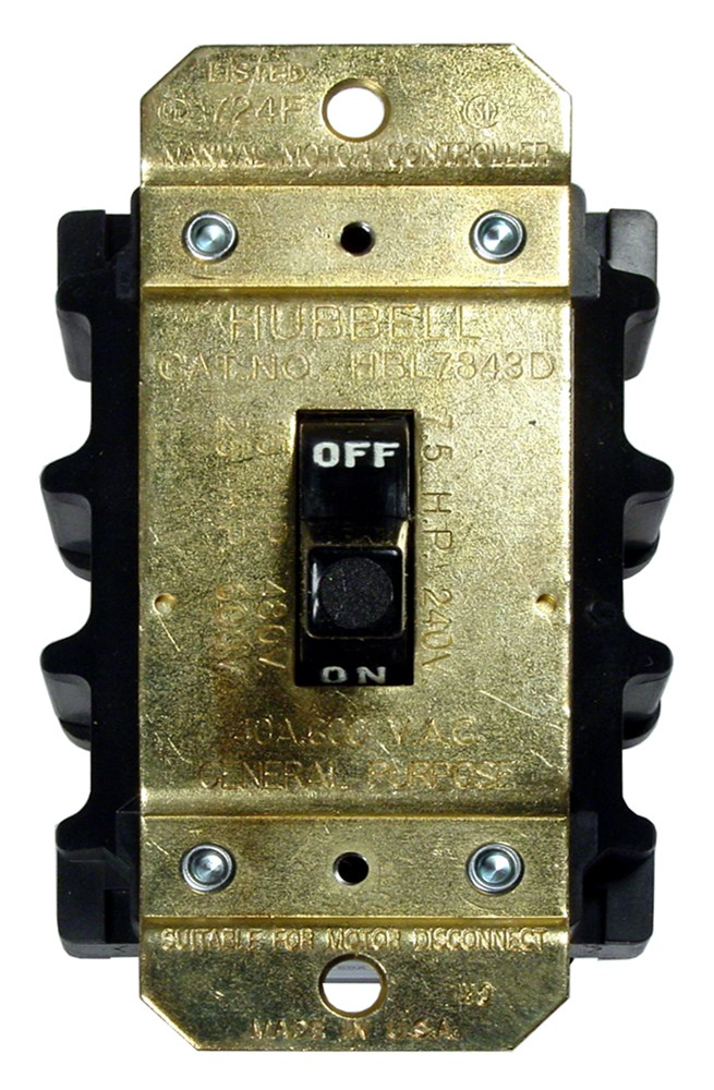 Hubbell Wiring Device-Kellems,HBL7842D,Wiring Device-Kellems Circuit-Lock® Open AC Motor Disconnect Switch, 600 VAC, 40 A, 24000 W