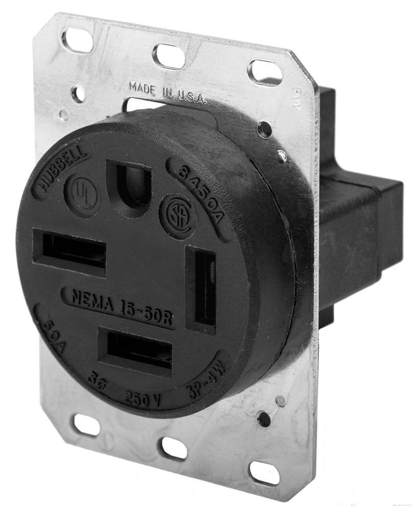 HUB HBL8450A SGL RCPT, 3P4W, 50A 3PH 250V,15-50R,BK
