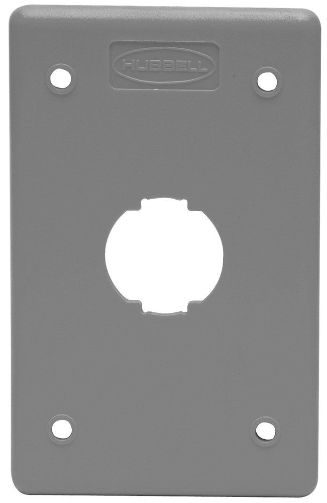 WIRING DEVICE-KELLEMS,HI14GY,PLATE, HI-IMPACT,NON-M,1G,1P,4PT,GY