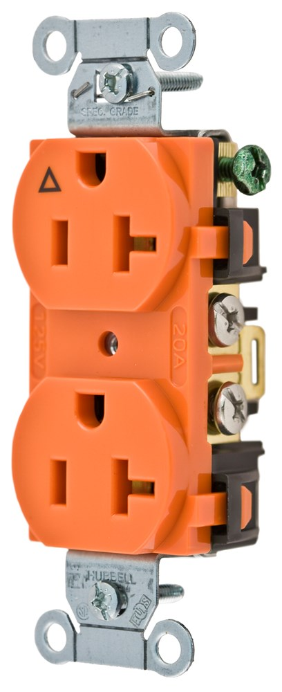 Hubbell Wiring Device-Kellems,IG5352,Wiring Device-Kellems Hubbell-Pro Duplex Grounding Heavy Duty Straight Blade Receptacle, 125 VAC, 20 A, 2 Poles, 3 Wires