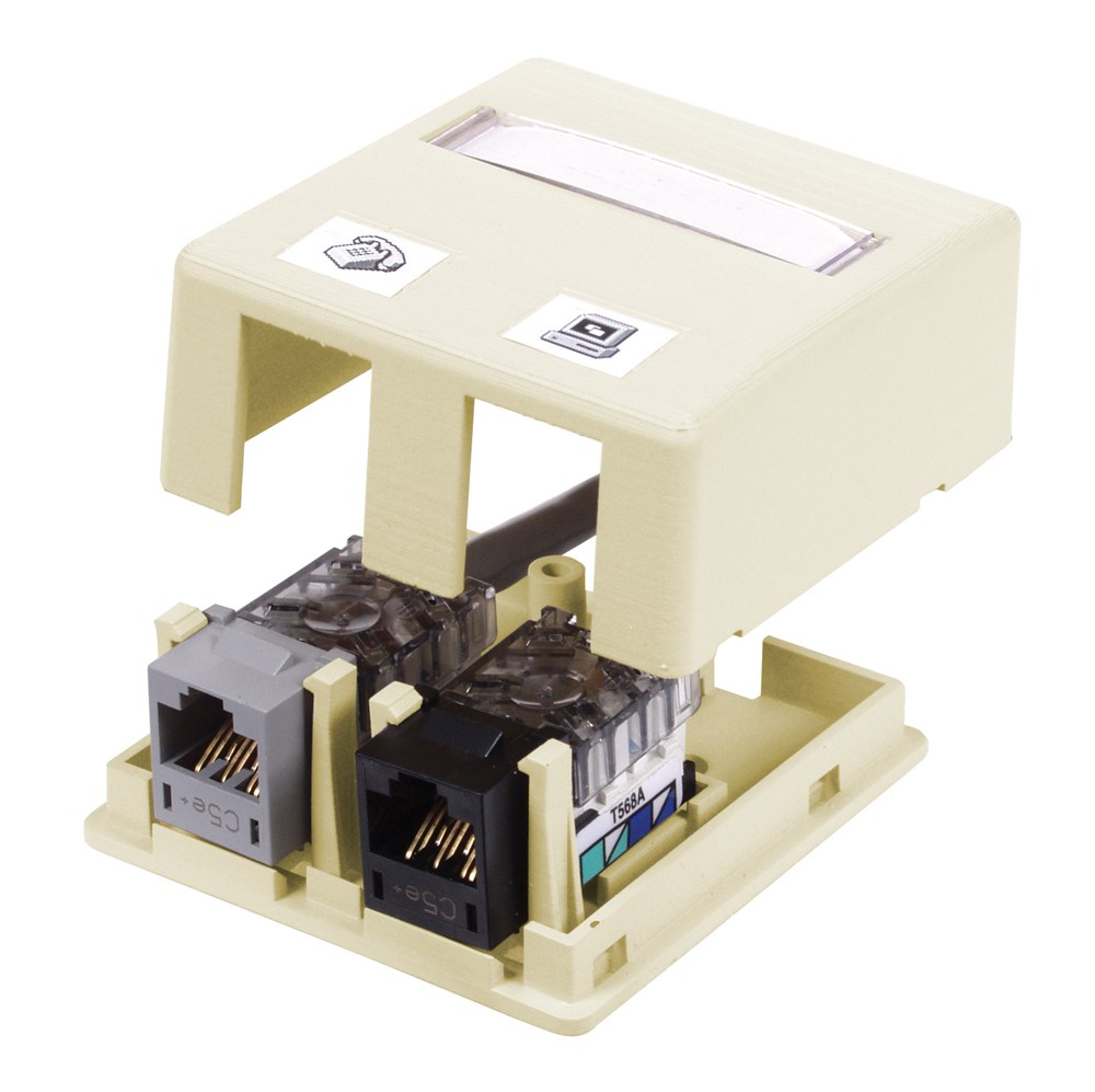 HUBPR ISB2EI HOUSING, SURFACE MOUNT, 2 PORT, EI 2 port surface mount box electric ivory