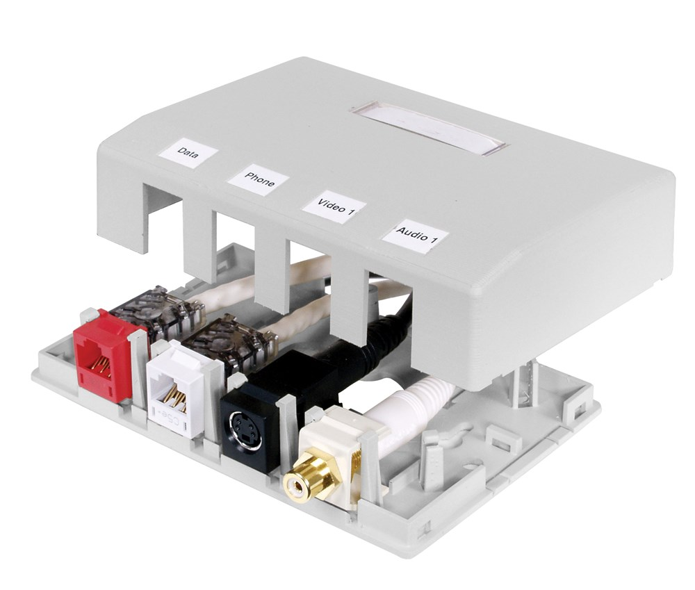 HUBPR ISB4W HOUSING, SURFACE MOUNT, 4 PORT, WH