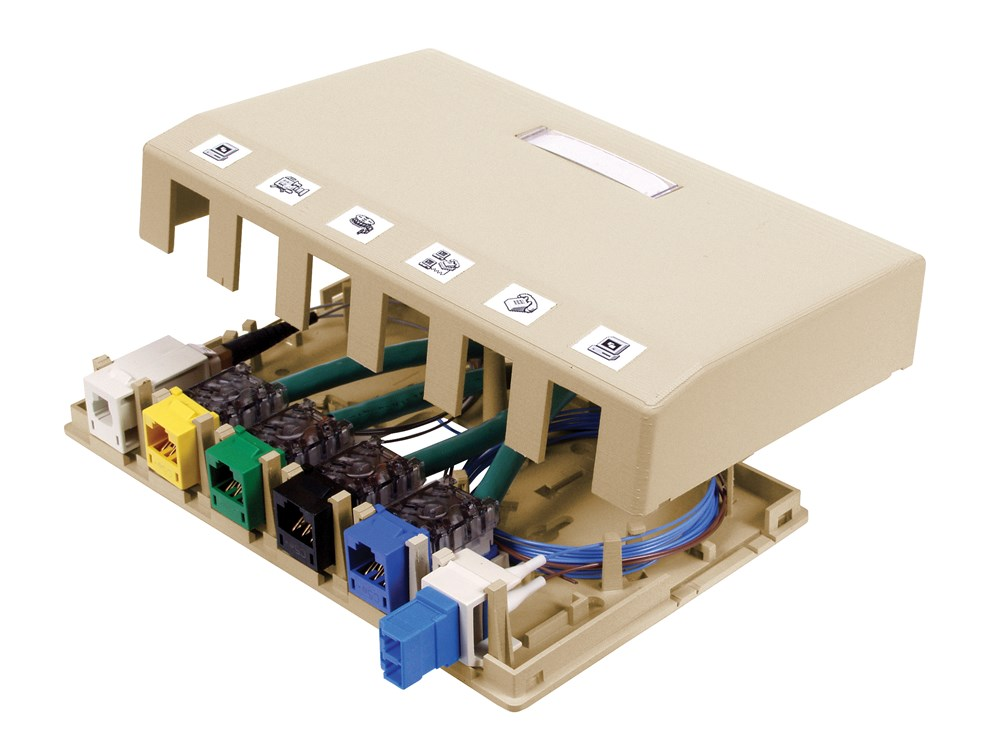 HUBPR ISB6EI HOUSING, SURFACE MOUNT, 6 PORT, EI 6 port surface mount box electric ivory