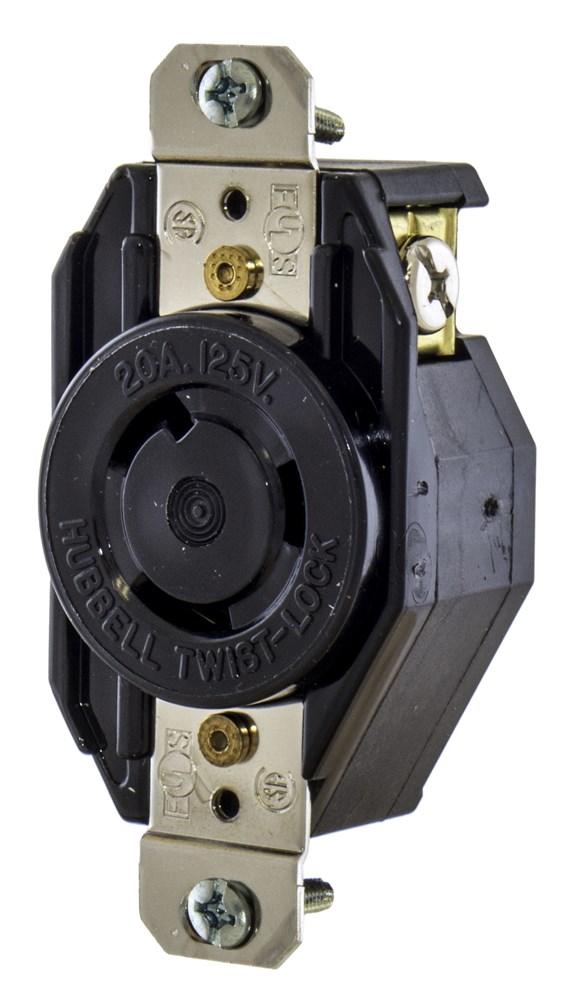 HUB L520R RCPT 2P3W 20A 125V NEMA L5-20R cs=10
