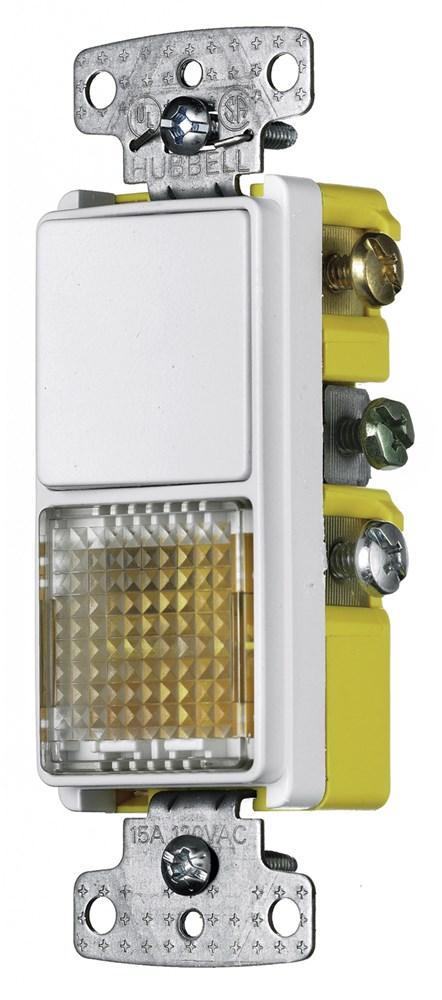 Hubbell Wiring Device-Kellems,RCD109W,COMBO, 15A SP RKR, PILOT/ILLUM, WH