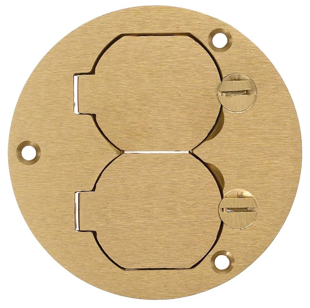 HUB S3925 F-BOX CVR, RND, DUP FLAP, BRS
