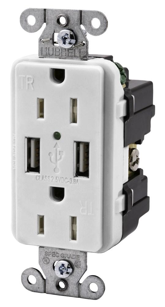 HUB USB15X2W 15A 125V USB CHARGER RECEPTACLE cs=10